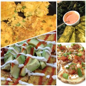 Review of the Jumbo chickpea pancake, lemon tofu and kale chips, and Taco Fiesta chips