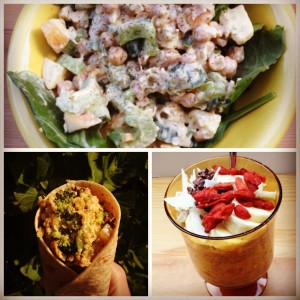 Review of the Chickpea Salad, Broccoli and Cashew Cheese Quinoa Burrito, and the Overnight Oats